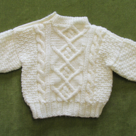 Aran Jumper in Cream for 6-12 months.