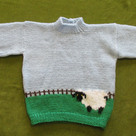 Fun Sheep Jumper in Pale Blue & Green. For 2-3 years.