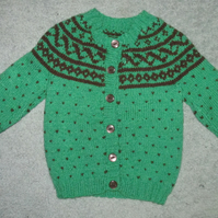 Striking Green and Brown Cardigan. For 2 years.
