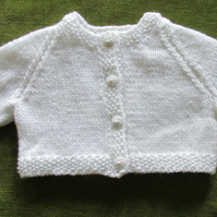 Tiny White Cardigan Perfect for a Newborn. 0-3 months.