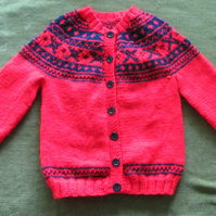 Striking Red and Navy Nordic Cardigan. For 3-4 years.