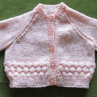 Soft Salmon Pink Cardigan. Sweet and Bobbly! Perfect for 3-6 months.