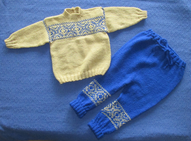 Lovely Pale Gold jumper with Blue leggings. For 1 -2 years.