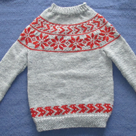 Wool Mix Grey and Red Snowflake Nordic Pattern. For 4-5 years.