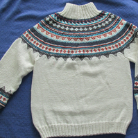 Man's Hand-Knitted Jumper Sweater in Nordic Pattern. Wool and Alpaca. Size 42""