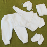 Pure White Matinee set in Soft Acrylic for baby 0-6 months