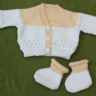 So Soft in Pure Merino Wool. Pale Toffee & Cream Cardigan & bootees. 3-6 months.