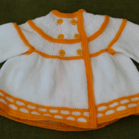 Gorgeous White Cardigan, Jacket with Golden Yellow details. For age 6-12 months