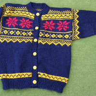 Navy Nordic Style Cardigan with Yellow and Red. For 3-4 years.