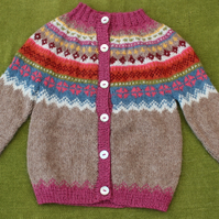 Soft Delicate Cardigan in Pure Alpaca Wool with Fairisle pattern For 12-24months