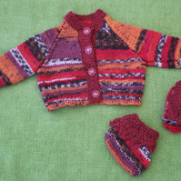 Wool Cardigan & Bootees in Burgundy Random Colours for Newborn Baby.