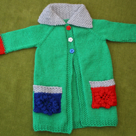 Stunning Emerald Green Cardigan-Coat-Jacket for 6-12 months.