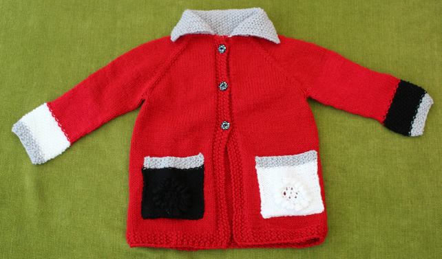 Cherry Red Cardigan-Coat-Jacket for age 2-3 years.
