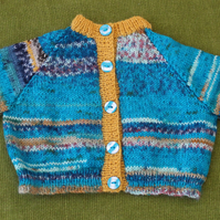 Wool Cardigan in Stunning Blue and Gold Random, for 0-3 months old.