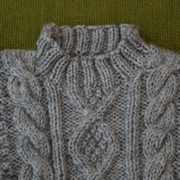 Cosy and Warm Grey Wool Blend Aran Jumper. For 9-12 months.