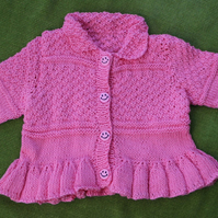 Very Pretty Vintage Style Cotton Cardigan in Coral Pink, for baby 6 -12 months