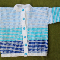 Striking Stripy Cardigan in Blues and White. For 2-3 years.