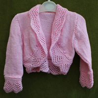 Pretty Pink Bolero-Cardigan-Shrug with Lacy Edging in Pure Cotton for 2-3 years.