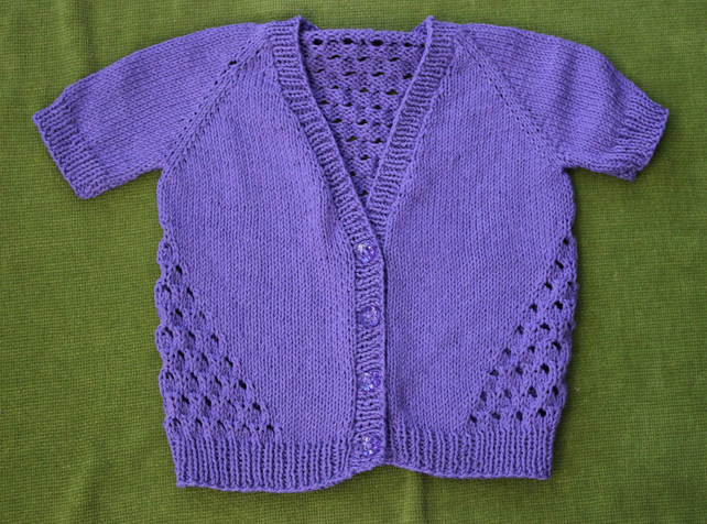 Lovely & Lacy Short-Sleeved Summer Cardigan in Purple. 3-4 years.