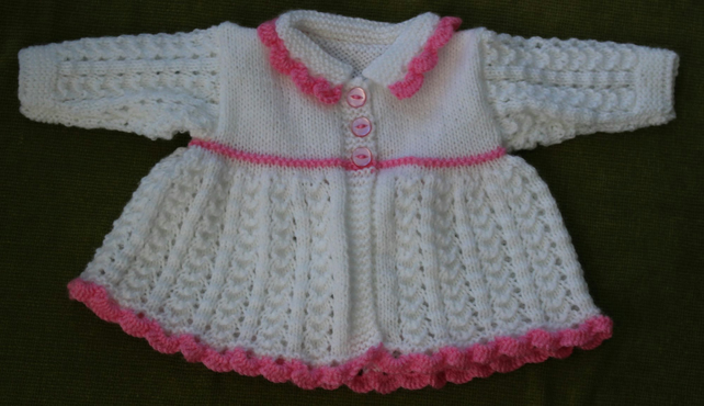 Very Pretty Vintage Style White Cardigan with Pink, for baby 3-9 months
