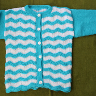 Striking Turquoise & White Cardigan. For 3-4 years.