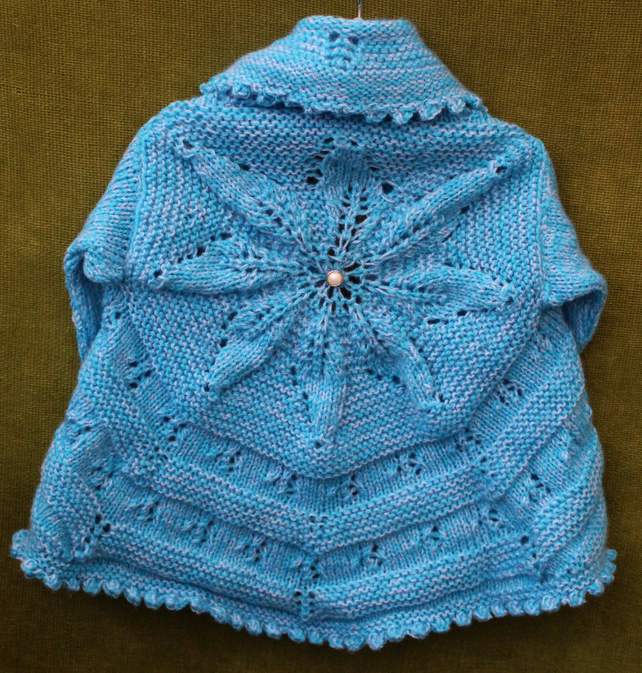 Pretty 'edge-to-edge' Turquoise Cardigan for 3-5 years.