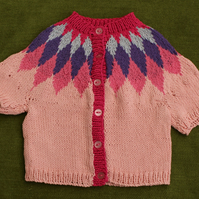 Cool and Colourful Pink Cotton Cardigan for age 2-3 years.