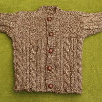Brown Tweedy Jacket - Cardigan with cables for age 6-12 months