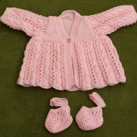 Very Pretty Pink Matinee Coat for baby 3-6 months