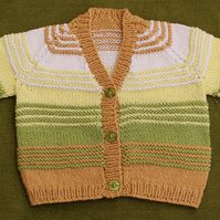 Cute Cotton Cardigan in Gold, Green & Yellow for age 12-18 months