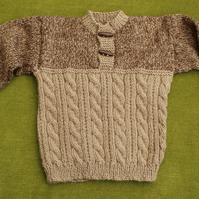 Warm and Cuddly Jumper in Browns with cables for age 18-24 months