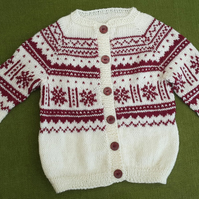 Striking Nordic Cardigan in Natural & Wine, in a Warm Wool Mix. For 2-3 years.