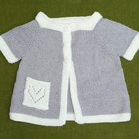 Gorgeous Short Sleeved Jacket in Grey and White. For 18-24 months.