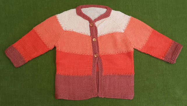 Gorgeous Shades of Autumn, Orange Cardigan. For age 12-24 months