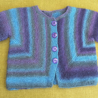 Lovely Warm, Wool Jacket in Shades of Blue, Green and Purple. For 12-18 months.