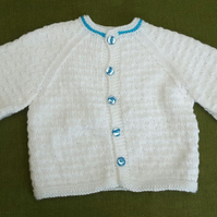 Cute White Jacket Cardigan with Pretty Turquoise details. For 18-24 months.