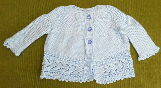 Adorable Pale Blue Jacket Cardigan with Lacy details. For 12-18 months.