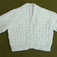 Adorable Pale Mint Green Cardigan with Stitch Pattern. 3-6 months.