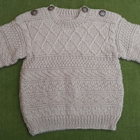 Guernsey Style Jumper in a Delicious colour of Fudge. For 18-24 months.