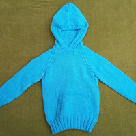 "Warm and Cosy ""Hoody"" Jumper in Turquoise for age 2-3 years."