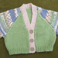 Adorable, Tiny Cream, Blue and Green Cardigan. Perfect for a Newborn.