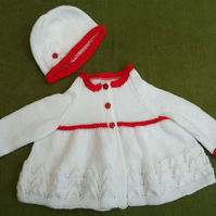 Striking Red and White Jacket,Cardigan and Matching Hat for ages1-2 years.