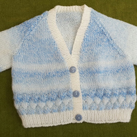 Gorgeous Little Cardigan in Blue and White for ages1-2 years.