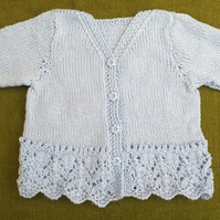 Gorgeous Little Cardigan in Blue with Lacy Hem for ages 9-12 months.