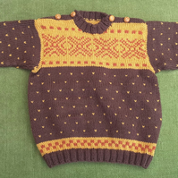 Nordic Style Cardigan in Stunning Autumn Colours. For 3-4 years.