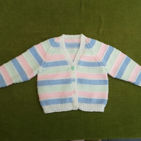 Pretty Little Cardigan in Blue, Pink, Mint and White for ages 2 years.