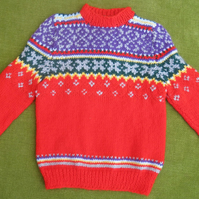 Nordic Style Jumper in Red and Multi. For 3-4 years.