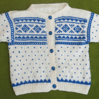 Nordic Style Cardigan in Natural White and Blue. For 2-3 years.