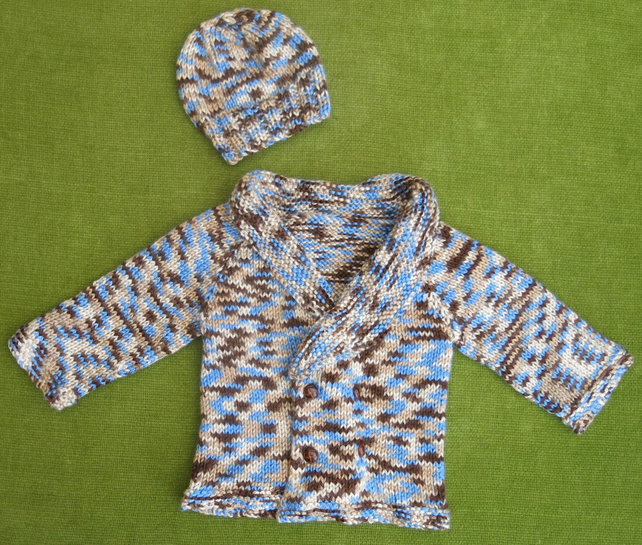 Warm and Cosy Shawl Collared Jacket and Hat in Blue & Brown, for age 9-18 months