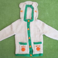 Fun, 'Teddy Bear' Hooded Cardigan in Honey Beige, for age 9-12 months